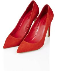 Topshop Womens Gemini Suede Court Shoes  Red - Lyst