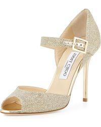Jimmy Choo Lace Mary Jane Glitter Sandal - Lyst