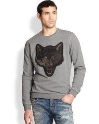 Diesel Embroidered Wolf Cotton Sweatshirt gray - Lyst