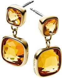 Michael Kors Gold-Tone And Citrine Double Drop Earrings - Lyst