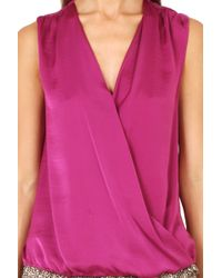 Vince Crossover Cami Blouse Magenta - Lyst