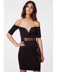 Missguided Rio Scuba Bardot Bodycon Dress Black - Lyst