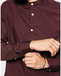 Asos Smart Shirt in Long Sleeve with Grandad Collar - Lyst