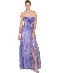Badgley Mischka Organza Print Evening Gown purple - Lyst