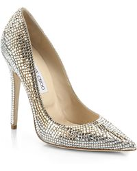 Jimmy Choo Tartini Square Paveacute Crystal  Suede Pumps - Lyst