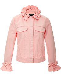 J Brand x Simone Rocha Campbell Ruffled Denim Jacket In Pink - Lyst