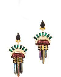 Elizabeth Cole Leah Earrings  Burgundy - Lyst
