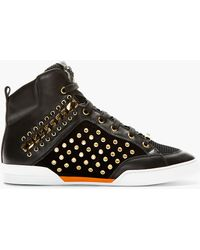Versace Black Eyelet and Chain Embellished High_top Sneakers - Lyst