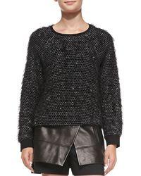 Tibi Fuzzy Tweed Sweatshirt - Lyst