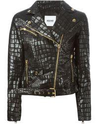 Moschino Cheap & Chic Crocodile Effect Biker Jacker - Lyst