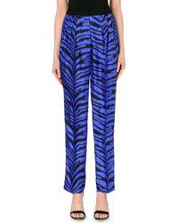 Emanuel Ungaro Zebra Print Silk Trousers - Lyst