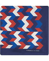 Turnbull & Asser Box Weave Silk Pocket Square - For Men, Navy blue - Lyst