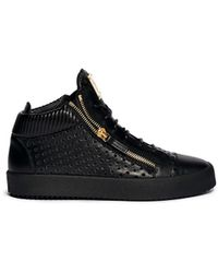 Giuseppe Zanotti 'May London' Perforated Mid Top Sneakers black - Lyst