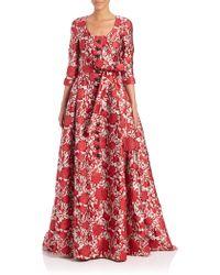 Carolina Herrera | Rose-print Jacquard Trench Gown | Lyst