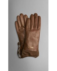 Burberry The Crush Gloves in Leather and Suede - Lyst