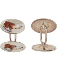 The Antique Jewel Box - Enameled Dog Head Cufflinks - Lyst