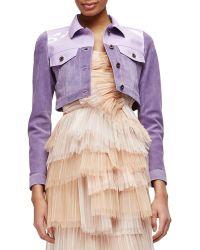 Burberry Prorsum Patent-Trimmed Suede Crop Jacket purple - Lyst