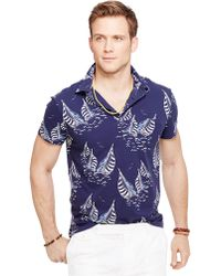 Polo Ralph Lauren Sailboat-Print Featherweight Mesh Polo Shirt - Lyst