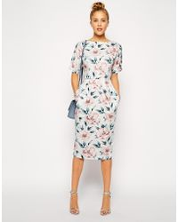 Asos Wiggle Dress in Pastel Floral Print - Lyst