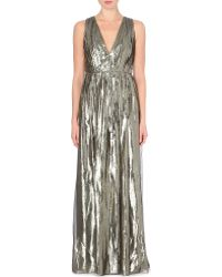 Alice + Olivia Issa Metallic Ruched Gown - Lyst