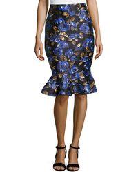Oscar de la Renta Floral-Print Flared-Hem Slim Skirt - Lyst