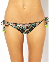 Ginja By Baku - Boho In Soho Ruffle Tie Side Bikini Bottom - Multi - Lyst