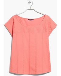 Violeta by Mango Embroidered Panel T-Shirt - Lyst