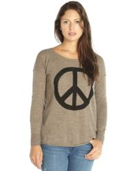 Autumn Cashmere Taupe Cashmere Crewneck Peace Sign Sweater - Lyst