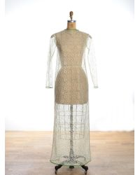 Kirsty Ward Long Sleeved Nude Lace Maxi Dress By - Lyst