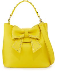 Betsey Johnson Hopeless Romantic Studded Bow Bucket Tote Bag Citron - Lyst