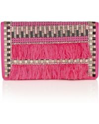 Matthew Williamson Feather Beaded Suede Clutch Bag - Lyst