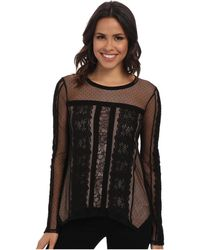 BCBGMAXAZRIA Addyson Lace Blocked Long Sleeve Shirt - Lyst