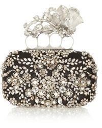 Alexander McQueen Knuckle Swarovski Pearl and Crystalembellished Silk Box Clutch - Lyst