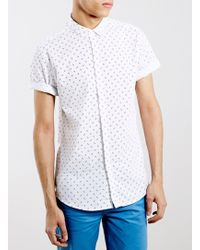 LAC - Monochrome Geometrc Print Short Sleeve Smart Shirt - Lyst
