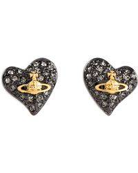 Vivienne Westwood Anglomania - Crystal Embellished Heart Stud Earrings - Lyst