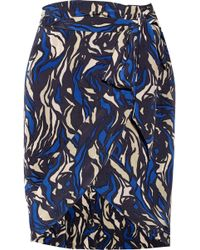 Isabel Marant Sonny Printed Silk Wrap Mini Skirt - Lyst