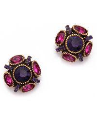 Oscar de la Renta Classic Crystal Button Earrings - Auberginemagenta - Lyst
