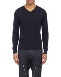 NLST - Denim Elbow-Patch V-Neck Sweater-Blue Size S - Lyst