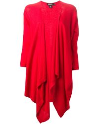 DKNY Draped Cardigan red - Lyst