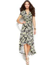 Michael Kors Michael Petite Bamboo High-Low Wrap Dress - Lyst