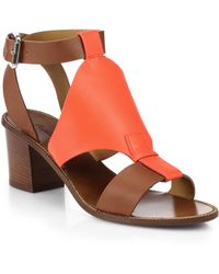 Ralph Lauren Collection Paola Block-Heel Leather Sandals - Lyst
