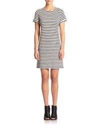 Alice + Olivia Striped Linen-Blend Jersey Dress - Lyst