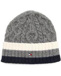 Tommy Hilfiger Austin Grey Striped Twisted Hat - Lyst