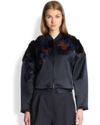 3.1 Phillip Lim Embroidered Cropped Bomber Jacket - Lyst
