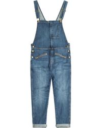 Current/Elliott Boyfriend Denim Overalls - Lyst