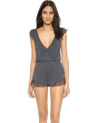 Wildfox - Charcoal Lace Romper - Charcoal - Lyst