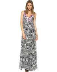 Mara Hoffman Deep V Gown  Checkers - Lyst