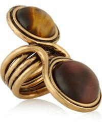 Oscar de la Renta Burnished Goldplated Cabochon Ring - Lyst