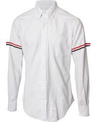 Thom Browne Pinstripe Oxford Shirt with Arm Straps Whiteblue - Lyst