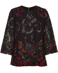 Elie Saab Embroidered Floral Guipure Top - Lyst